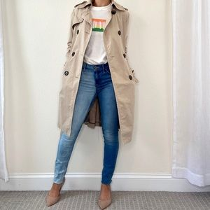 Zara Beige Double Breasted Trench Coat Belted